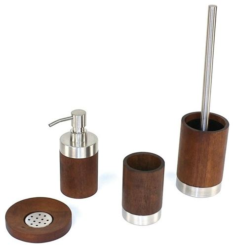 Erica Walnut Wood Bathroom Accessory Set Contemporary Wood Bathroom Accessories