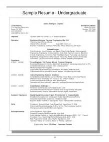 Resume Sample Undergrad by Undergraduate Resume Getessay Biz