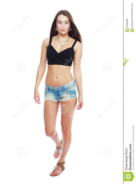 young girl models shorts model posing in jeans stock photo image 59636899