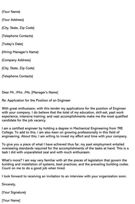 engineering cover letter samples email examples