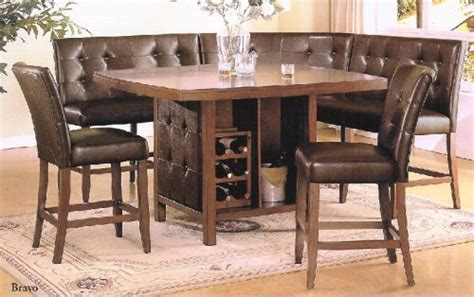 booth style dining table home office furniture 6 pc walnut finish wood counter