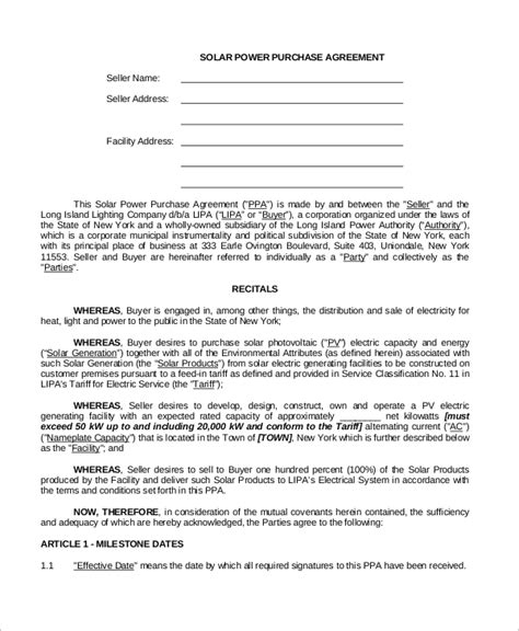 solar power purchase agreement template sle power purchase agreement 10 exles in word pdf