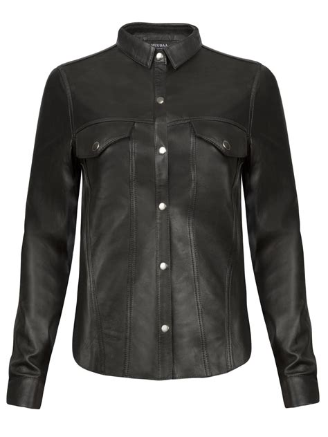 7 Luxe Leather Shirts by Muubaa Black Leather Western Shirt