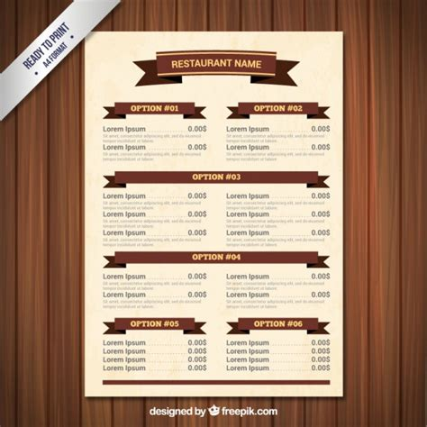 menu template with ribbons vector premium download