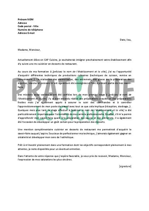 Lettre De Motivation De Cuisinier En Collectivité Modele Lettre De Motivation Cuisinier Document