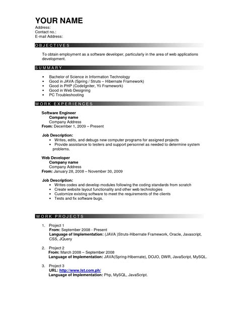 resume format templates effective resume templates sle resume cover letter format