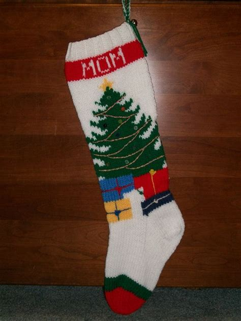 knitting pattern for christmas tree stocking pattern only hand knitted christmas tree stocking