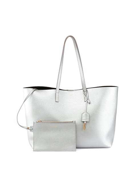 Ysl Silver Pouch By Arali Shop laurent large shopping tote bag silver neiman