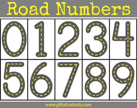 printable road road numbers printable for learning how to write numbers