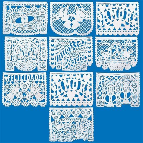 Large Mexican Papel Picado Tissue Paper Bunting 'Amour