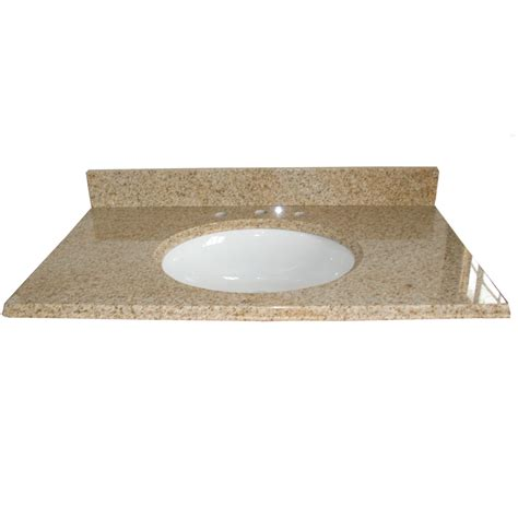 Lowes Bathroom Vanity Tops Shop Allen Roth Desert Gold Granite Undermount Single Sink Bathroom Vanity Top Common 49 In