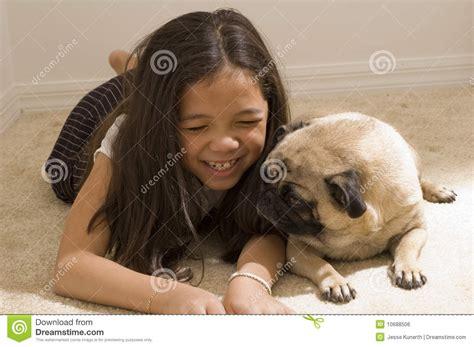 asian pug asian with pet pug royalty free stock image image 10688506