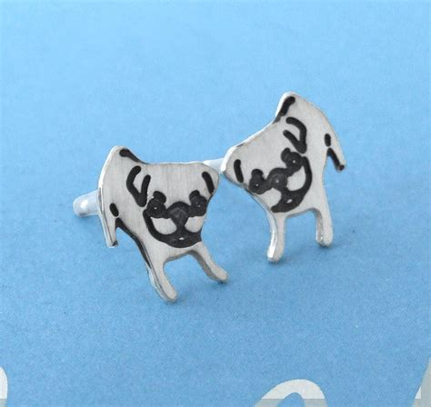pug earings sterling silver puppy pug earrings by plain pugs notonthehighstreet