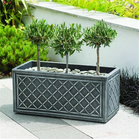 black outdoor plant pots