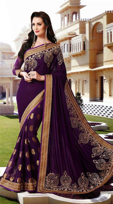 Sari And Gold purple velvet and faux georgette gold zari work wedding