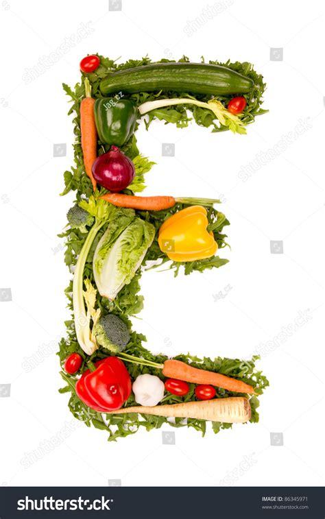 vegetables e vegetable alphabet letter quot e quot stock photo 86345971
