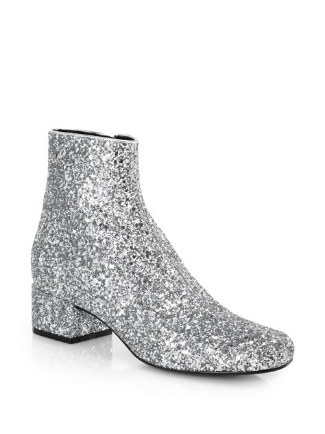 glitter ankle boots laurent glitter leather ankle boots in silver