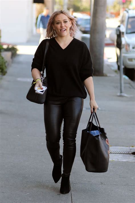 How Would You Wear It Hilary Duff Fabsugar Want Need by Hilary Duff Wearing Leather Out In West