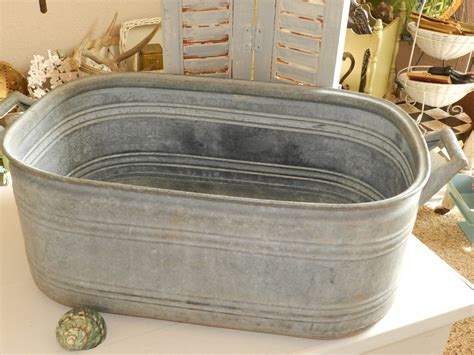 old galvanized bathtub vintage antique zinc galvanized tub with handles