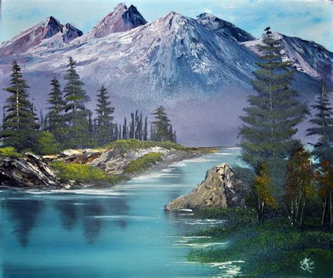 bob ross painting the mill purple mountain range by nailpolish7 on deviantart