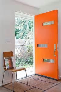 mid century orange front doors