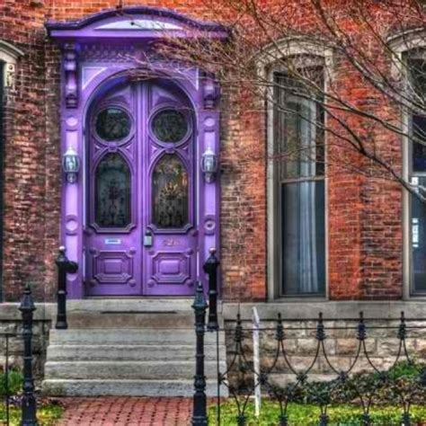brick house door colors new front door color brick house with bright purple door black iron rail and steps rh