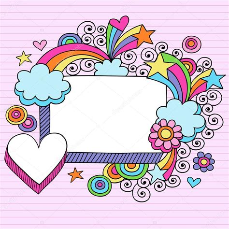 free doodle border vector rectangle picture frame groovy psychedelic doodles vector