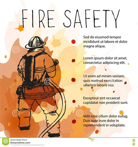 Template Of Fire Safety Vector Placard Stock Vector Illustration Of Dangerous Placard 76395987 Safety Templates Free