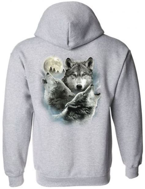 Hoodie Wolf three wolves zippered hoodie sweatshirt