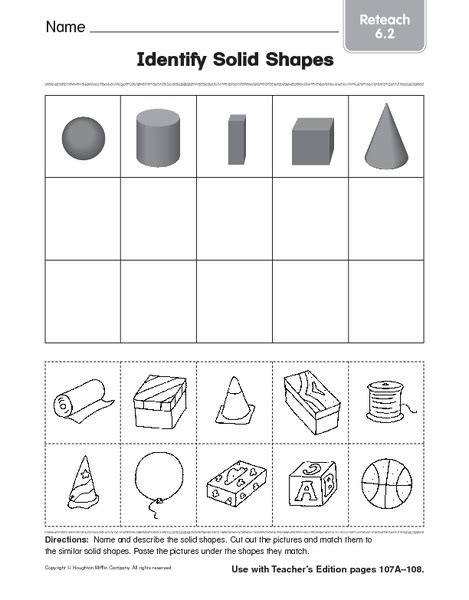 printable shapes for first grade worksheets solid figures worksheets opossumsoft