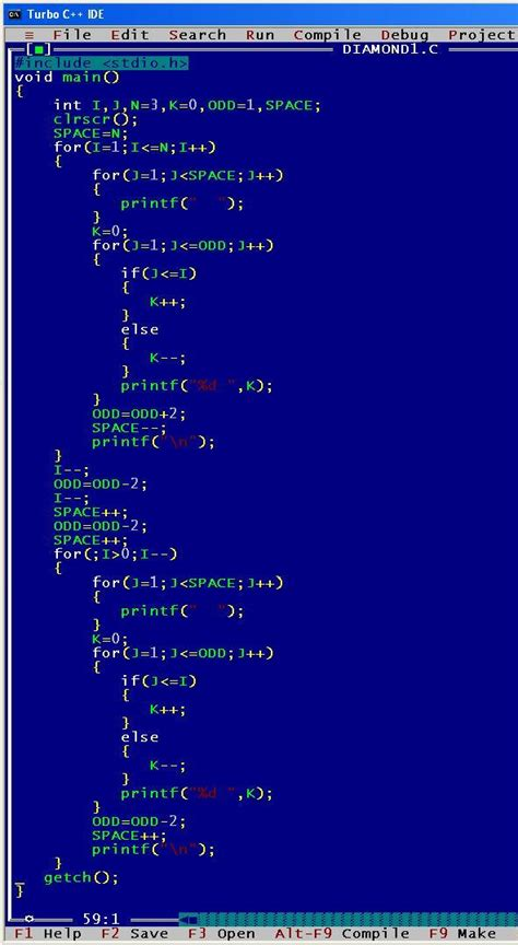 pattern program in c video write a program in c to print the following output 2009
