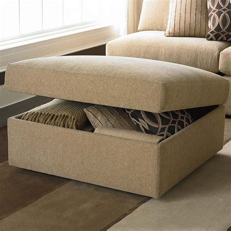 brown fabric ottoman living room cozy living room storage ottoman with square