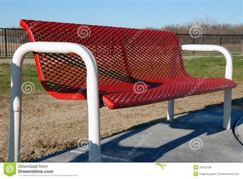red park bench red park bench royalty free stock images image 23105109