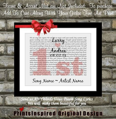 Any Song, Unique 1st First Wedding Anniversary Gift Idea