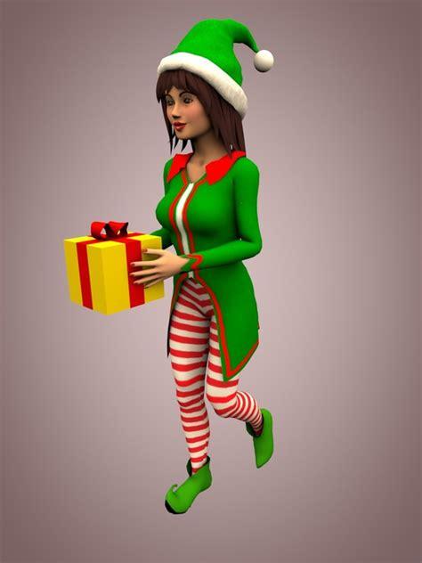 female christmas characters 3d c4d