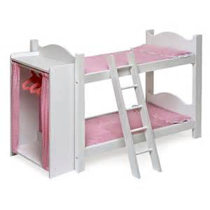 Baby Doll Bunk Beds Badger Basket Pink Gingham Princess Doll Bunk Bed With Armoire Baby Doll Furniture At Hayneedle