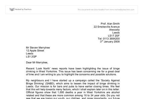 Formal Letter Exle Gcse Persuasive Letter Gcse Marked By Teachers