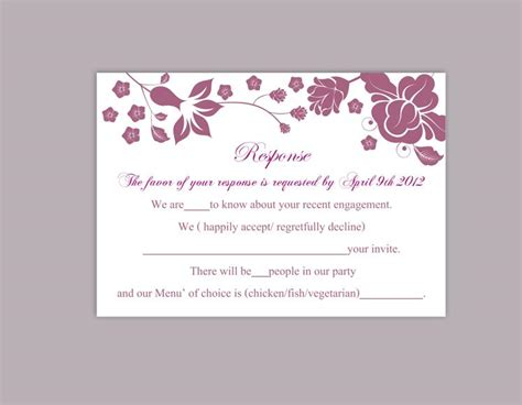 Diy Response Cards Template by Diy Wedding Rsvp Template Editable Word File Instant