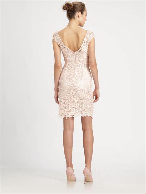 Flower Lace Dress Black Pink Ml lyst ml lhuillier venise lace dress in pink