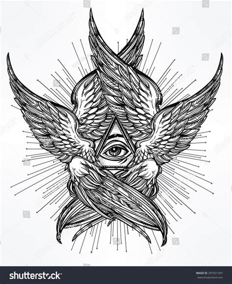 all seeing eye providence hand drawn stock vector