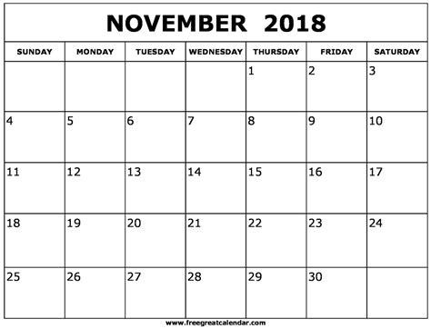 November 2018 Calendar November 2018 Printable Calendar Template Holidays Calendar Template 2018 Printable