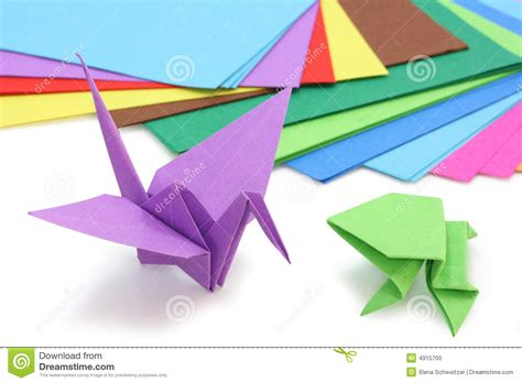 How To Make Origami Figures - origami paper and figures stock photo image 4915700