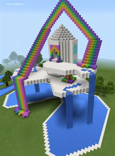 themes in a house in the sky minecraft rainbow sky waterfall house minecraft