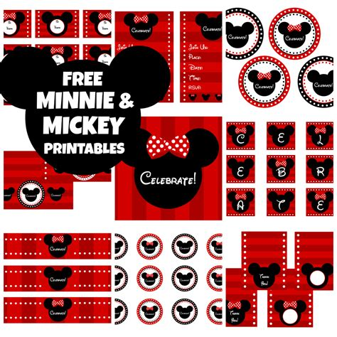 printable birthday supplies free mickey minnie mouse birthday party printables from