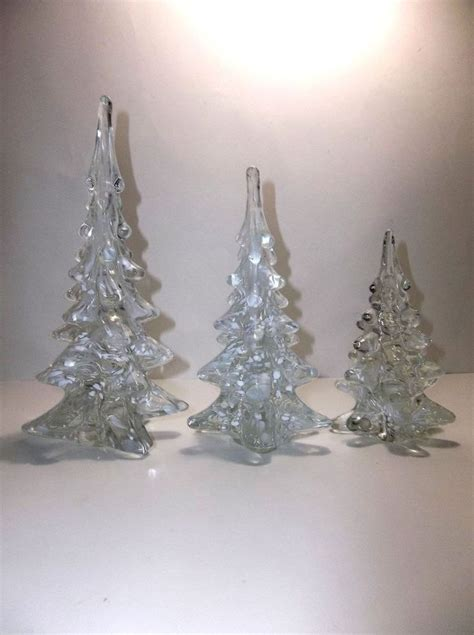 vintage art glass christmas tree clear white snow set of 3