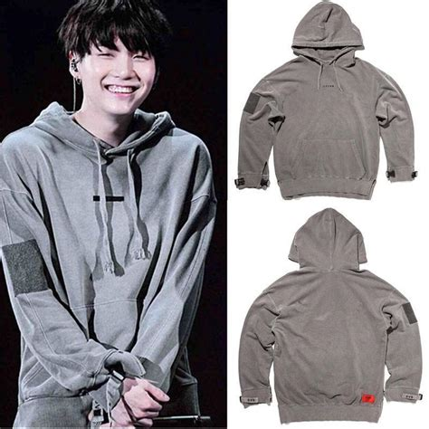 Sweater Hoodie Zipper Bts Suga 1 kpop bts suga cap hoodie wings sweatershirt sweater pullover bangtan boys coat ebay