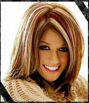 highlite only bangs mid length brown with blonde auburn highlights