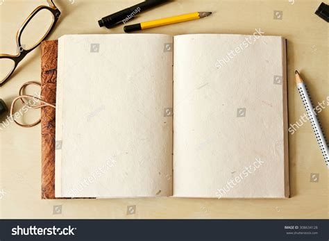 sketchbook note sketchbook note pad empty paper page stock photo 308634128