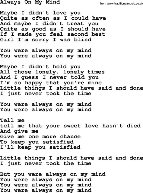 lyrics willie nelson willie nelson song always on my mind lyrics