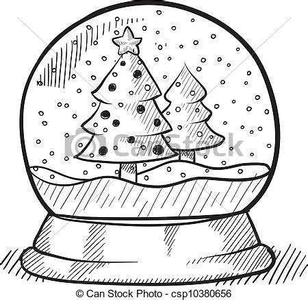 international christmas tree coloring page christmas tree snow globe sketch doodle style christmas